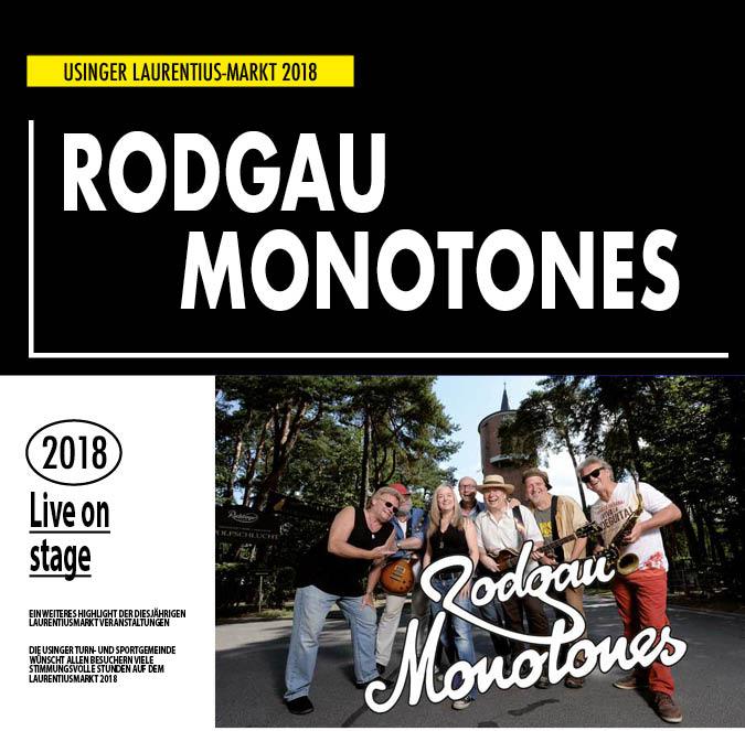 RODGAU MONOTONES Live-Auftritt auf dem Usinger Laurentius Markt 2018. Präsentiert von der Usinger Turn- und Sportgemeinde (UTSG)