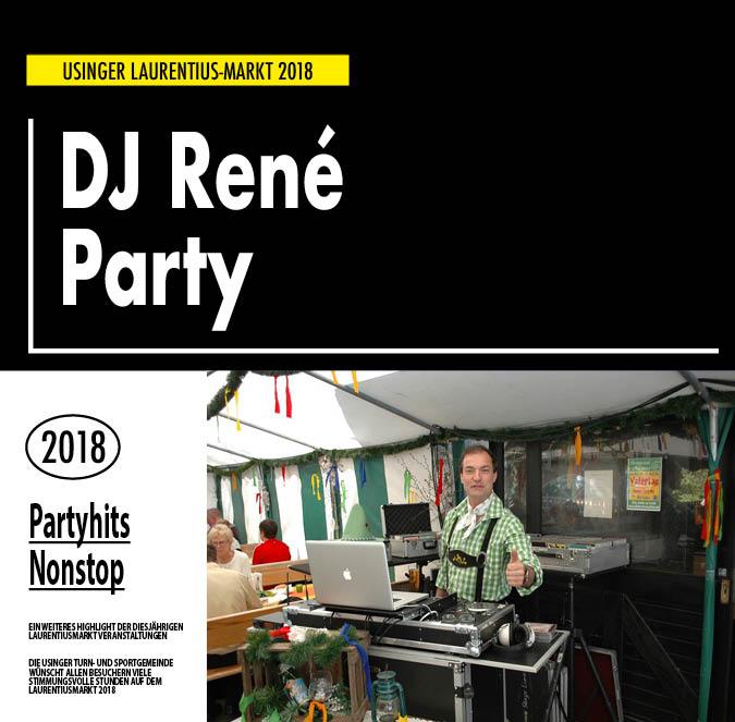 DJ RENE`. Auftritt auf dem Usinger Laurentius Markt 2018. Präsentiert von der Usinger Turn- und Sportgemeinde (UTSG)